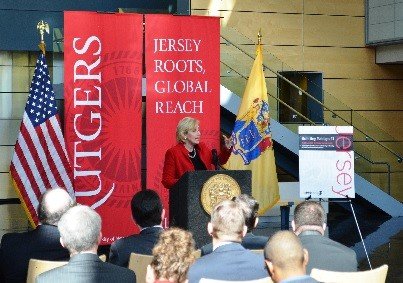 Photo: Lt. Gov. Kim Guadagno came to Rutgers to discuss the creation of a council on innovation in N.J. Photo Credit: Rutgers