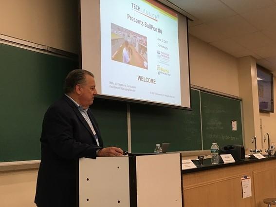 Photo: Mario Casabona giving introductory remarks and Bullpen 4 at Fairleigh Dickinson University. Photo Credit: Esther Surden