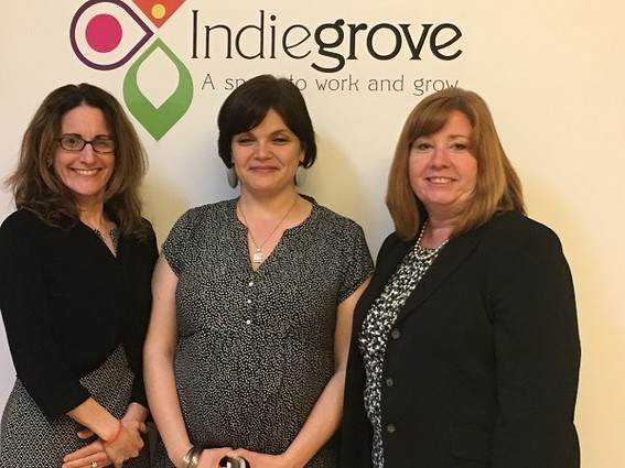 Photo: Melissa Orsen, Zhara Amanpour and Kathleen Coviello at Indiegrove Photo Credit: Esther Surden