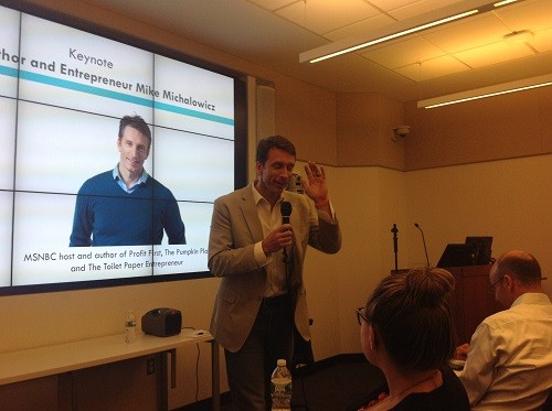 Photo: Mike Michalowicz, author of Profit First, spoke at the Morris Tech Meetup  Photo Credit: Mark Annett