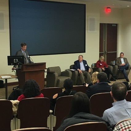 Photo: The panel on the current state of funding at the Montclair Entrepreneurs Meetup. Photo Credit: Dillan DiGiovanni