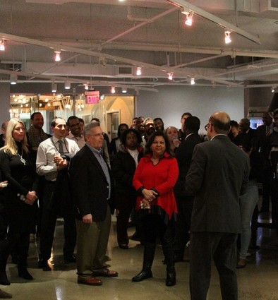 Photo: Mukesh Patel speaks to the crowd at the BLT mixer event at Newark Venture Partners. Photo Credit: Theodore Munro