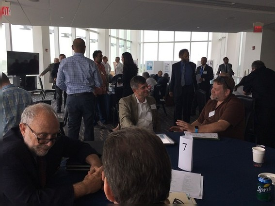"""Photo: Founders """"speed date"""" with angels at NJEN 2017 meeting Photo Credit: Esther Surden"""