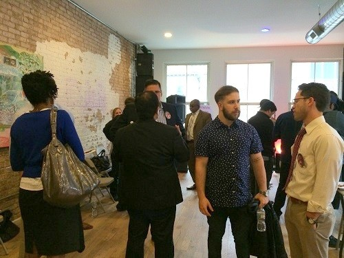 Photo: Some 80 people came to Seed Gallery in Newark to help launch Converge, a pop-up coworking space that will be free on Thursdays during the summer. Photo Credit: Esther Surden