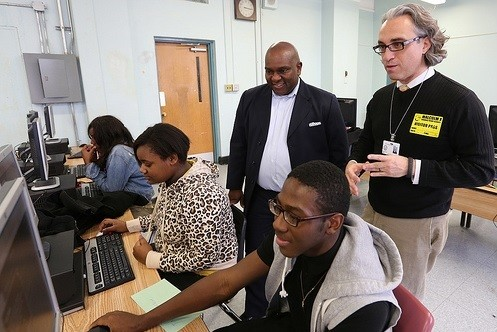 Photo: Volunteers during Newark Hour of Code 2013 (file photo). Photo Credit: Jaffe Communications