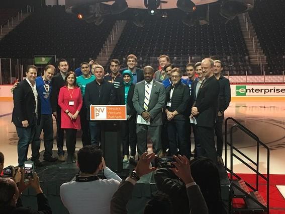 Photo: The Newark Venture Partners Labs cohort members and managing directors with Newark Mayor Ras J. Baraka and Donald Katz of Audible. Photo Credit: Esther Surden