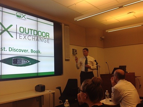 Photo: Dariusz Jamiolkowski, cofounder of The Outdoor Exchange, asked everyone to join his firm's crowdfunding campaign. Photo Credit: Mark Annett