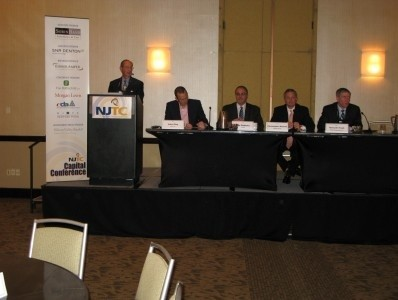 Photo: At the NJTC Capital Conference Breakfast Panel: L-R: Moderator and Sponsor, Philip H. Politziner, Chairman Emeritus, EisnerAmper LLP; John Eley, CEO, Pivot, Inc.; Ron Gaboury, CEO, Yorktel; Christopher Kuenne, Chairman and CEO, Rosetta Group; Kenneth Traub, President and CEO, Ethos Management LLC Photo Credit: NJTC