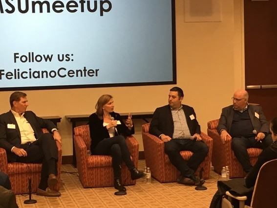 Photo: Panelists at Montclair Entrepreneurs Meetup discuss selling the companies they founded . Photo Credit: Esther Surden