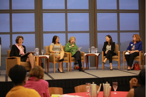 Photo: Panelists talk about funding tech entrepreneurial ventures at Women Entrepreneurship Conference. Photo Credit: Madison Schaefer