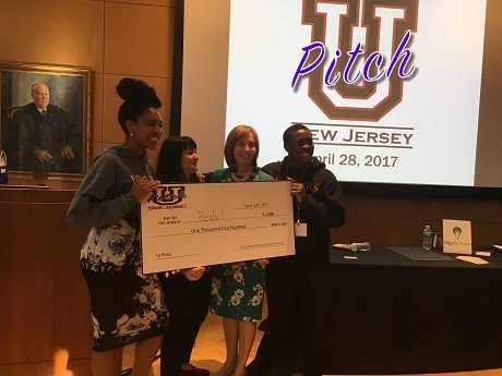 Photo: Pedul, from Rutgers, received the top prize at UPitch 2017. Photo Credit: Esther Surden
