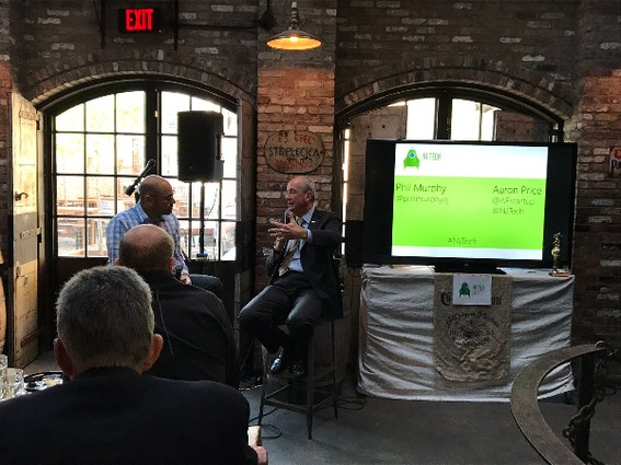 Photo: Aaron Price interviews Phil Murphy at the NJ Tech Meetup. Photo Credit: Phil Murphy via Twitter