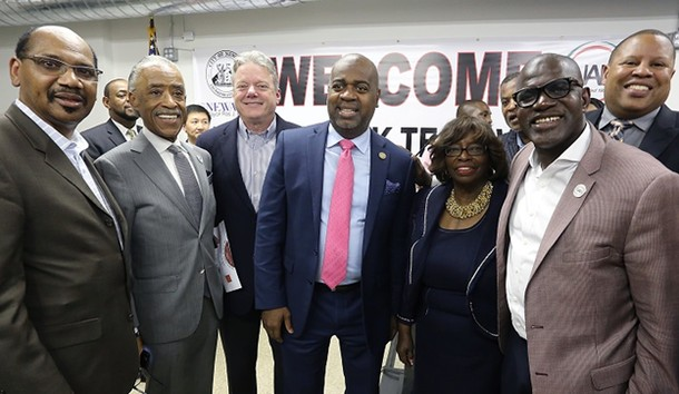 Photo: Newark and national civil rights and community leaders gathered to announce NAN-Newark Tech World, including: Pastor David Jefferson, Reverend Al Sharpton, Panasonic NA CEO Joe Taylor, Newark Mayor Ras J. Baraka, Newark Councilwoman-at-large Mildred Crump, Pastor Steffie Bartley and Councilman John Sharpe James. Photo Credit: Courtesy Panasonic