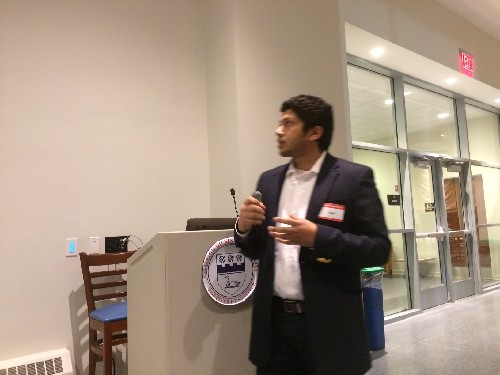 Photo: Vishal Singh cofounder of Pintact at the Morris Tech Meetup Photo Credit: Esther Surden