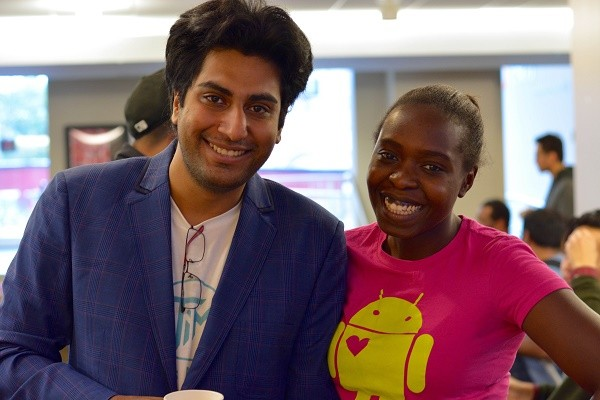 Photo: Rahul Anand, founder of The Ideas Maker and Sylvia Wandhava, founder of Women Techmakers NJ at the Rutgers hackathon Photo Credit: Hazel Lee, The Ideas Maker