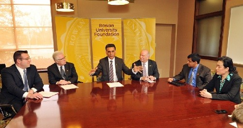 Photo: L to R: R.J. Tallarida, Paul Tully, Ali Houshmand, Kenneth Blank, Shreekanth Mandayam and Cathy Yang during the venture fund announcement at Rowan. Photo Credit: Courtesy Rowan University