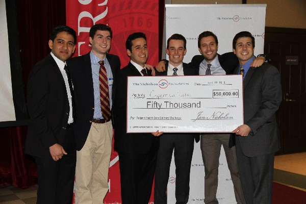 Photo: The winning team: Jeet Patel, Jonathan Haskel, Sam Schild, Brian Friel, Joshua David, and Tom Nahass. Photo Credit: Courtesy Rutgers University