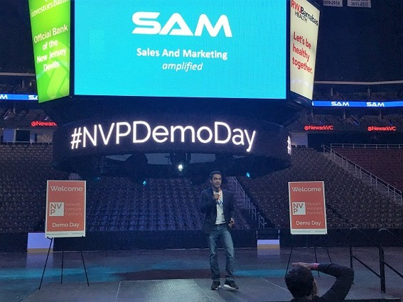 Photo: Raz Choudhury, cofounder and CEO pitched SAM, is a fully integrated sales and marketing platform. Photo Credit: Esther Surden