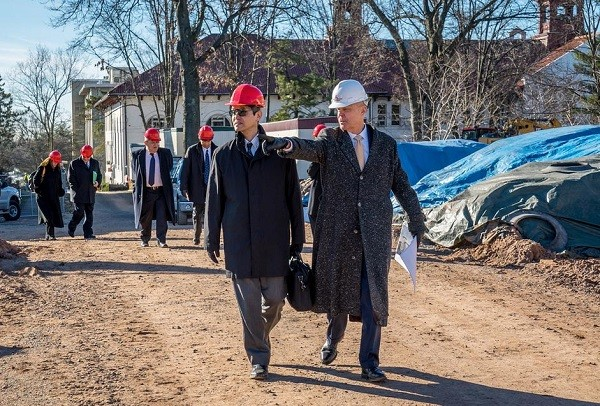 Photo: Montclair State University's Dean Gurskis and Sony's Shigeki Ishizuka tour the construction site for the University's new School of Communications and Media. Photo Credit: Mike Peters