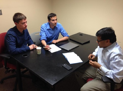 Photo: SHIELDtech founders Chris Coppola and Ralph Mattaccio meeting with their advocate, Ron Parmar. Photo Credit: Courtesy TechLaunch