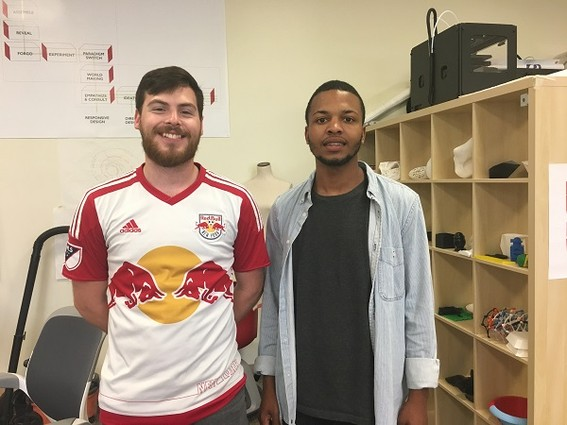 Photo: Joshua Miller and Altrarik Banks are two of the students that will be working on the 3-D printed prototypes. Photo Credit: Esther Surden
