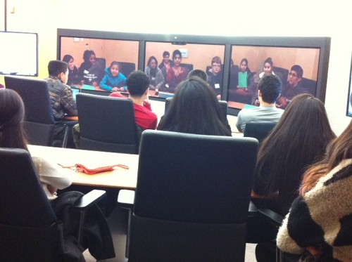 Photo: Students learned about telepresence at the company's Bedminster location. Photo Credit: Ellen Webner, AT&T