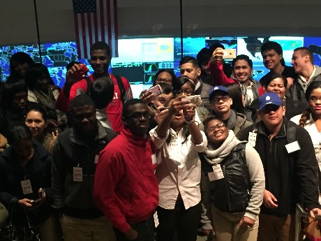 Photo: Roselle students from Abraham Clark High School visited the GNOC. Photo Credit: Ellen Webner, AT&T