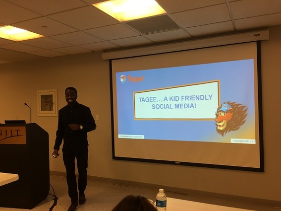 Photo: Julius Richards, founder of TAGEE, pitches at Innovation Acceleration Challenge. Photo Credit: Esther Surden