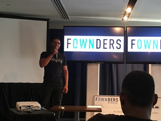 Photo: Taseen Peterson spoke about his productivity app, Notefuly. Photo Credit: Esther Surden