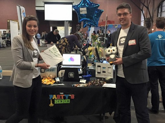 Photo: Melissa Schipke and James Maxwell making their debut at Philly Tech Week. Photo Credit: Tassl Facebook Page