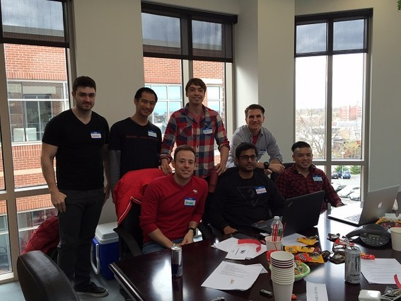 Photo: Rutgers Coding Bootcamp Team Red Lobsters won the hackathon. Photo Credit: Courtesy V12 Group