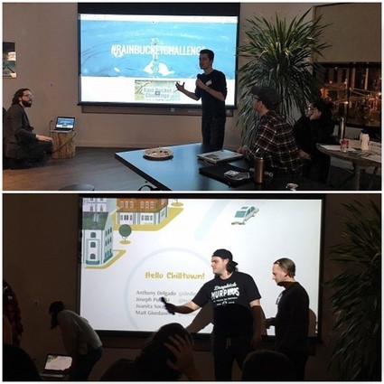 Photo: A couple of the teams presenting at the sustainability hackathon in Jersey City Photo Credit: Esther Surden