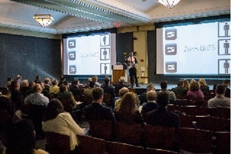 Photo: SeamBLiSS cofounder Shawn Oates presented at Demo Day. Photo Credit: TechLaunch