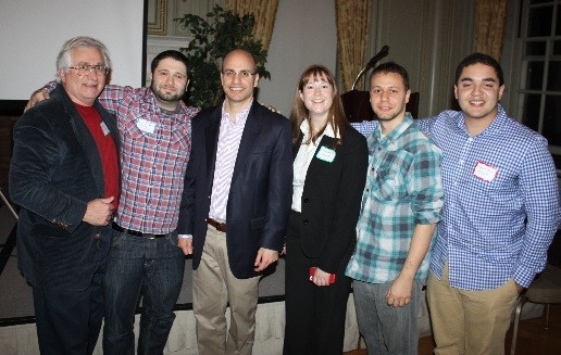 Photo: The winning team PrivateChat at Startup Weekend Madison with organizer James Barrood of FDU, center. L to R,Tom Martin, Hani Shabsigh,James Barrood,Meredith Monroe,Lonny Kapelushnik,Emerson McIntyre Photo Credit: FDU