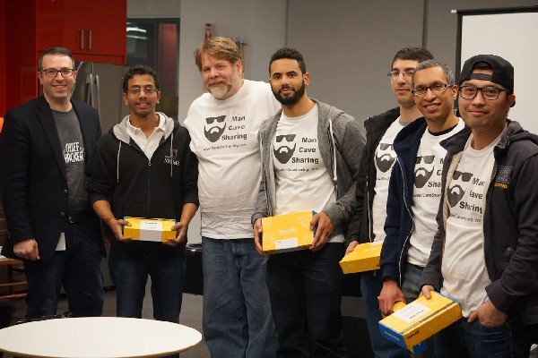 Photo: Third place winners Mark Annett, Tejas Shah, Mosies Cordero, Samuel Lebreault, Ivan Quan and Patrick Needham holding their Raspberry Pis. Zev Green (far left)l. Photo Credit: Courtesy IDT Corp.