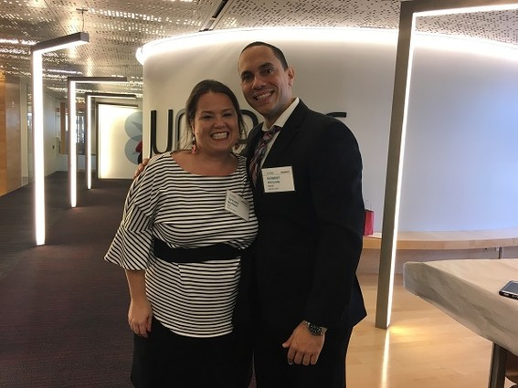 Photo: Tiffany Bartfeld of NAF and Robert Almonte, NAF coordinator at Manhattan Bridges Photo Credit: Esther Surden