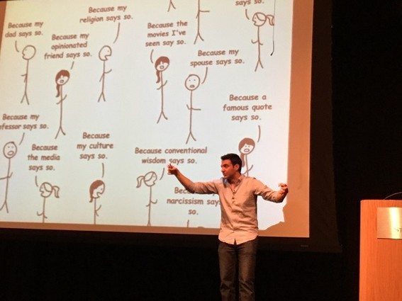 Photo: Tim Urban talking at Stevens Institute of Technology. Photo Credit: Esther Surden