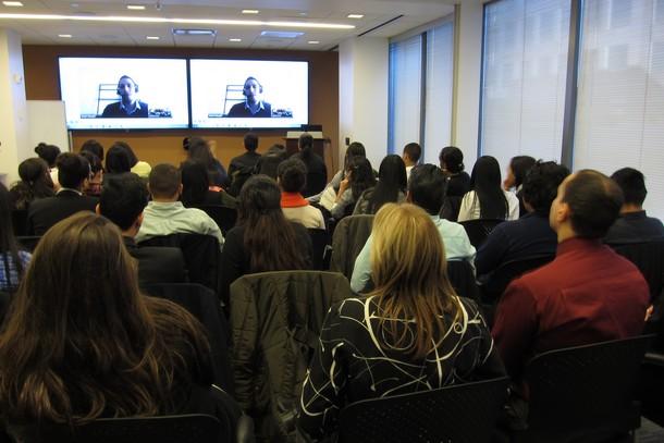 Photo: Students participate in a video call with Munir Dabaghi Richerand. Photo Credit: John Critelli