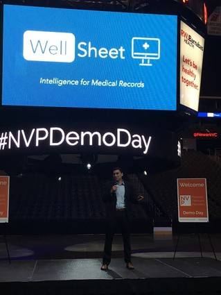 Photo: Craig Limoli, cofounder and CEO of WellSheet, pitched the startup that applies artificial intelligence to the management of medical records. Photo Credit: Esther Surden