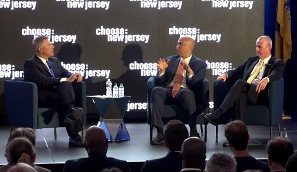 Photo: Sen. Cory  Booker and Gov. Phil Murphy discuss opportunity zones Photo Credit: Courtesy Choose New Jersey