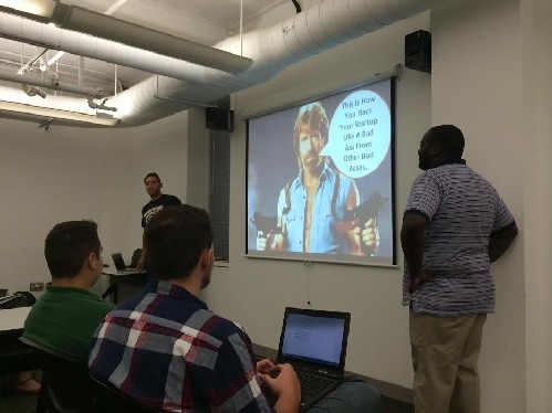Photo: Clark Lageman (L) and Anthony Frasier (R) present startup hacks. Photo Credit: Esther Surden