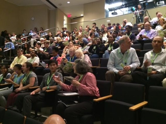 Photo: The hall fills up for eLab Demo Day. Photo Credit: Esther Surden
