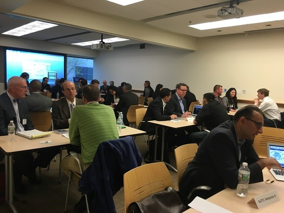 Photo: Startups took advantage of their ten-minute meetings with VCs and angels at the NJ EDA Founders and Funders event. Photo Credit: Esther Surden