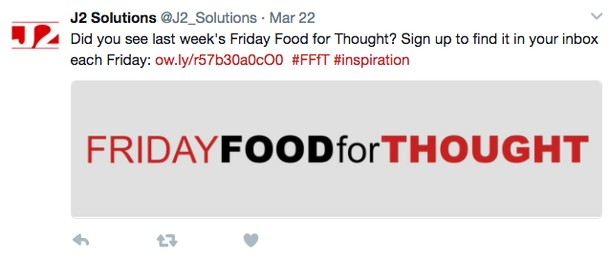 Photo: Example of how this firm uses popular hashtags to drive readers to their blog Photo Credit: J2Solutions