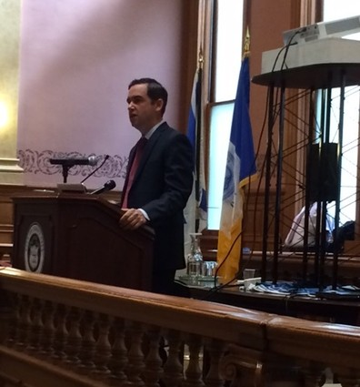 Photo: Mayor Steven Fulop talked about attracting tech startups to Jersey City. Photo Credit: Esther Surden