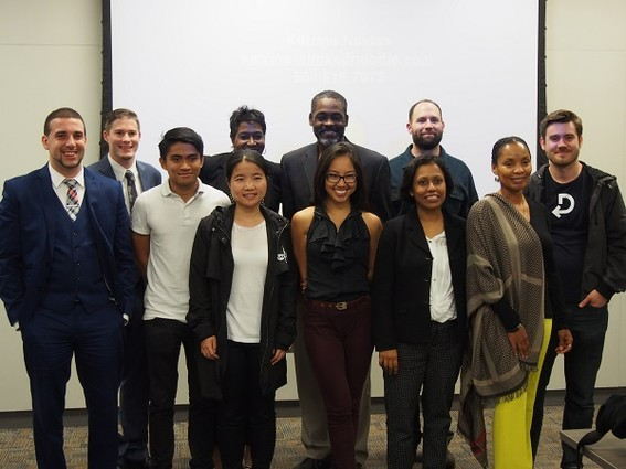 Photo: Group photo of some of the founders at the Camden Catalyst pitch competition. Photo Credit: Joshua Schneider