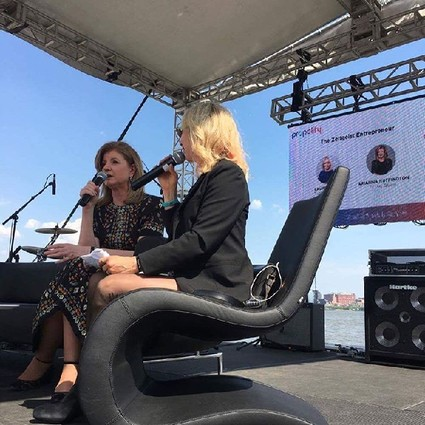 Photo: Laurel Touby interviews Arianna Huffington at Propelify. Photo Credit: Propelify via Instagram