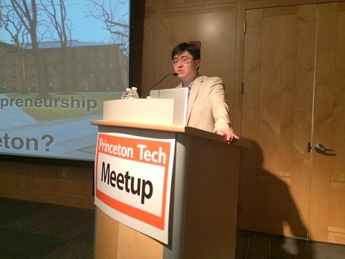 Photo: Keller Center head Mung Chiang spoke to the Princeton Tech Meetup in May. Photo Credit: Esther Surden