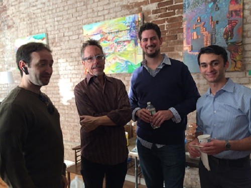 Photo: Networking at Lean Newark, L-R MichaelMichael Liguori, What Are Minds For; Guy Story, Audible; Travis Kahn, TechLaunch; Jonathan Hakakian of SoundBoard Angel Fund. Photo Credit: Esther Surden