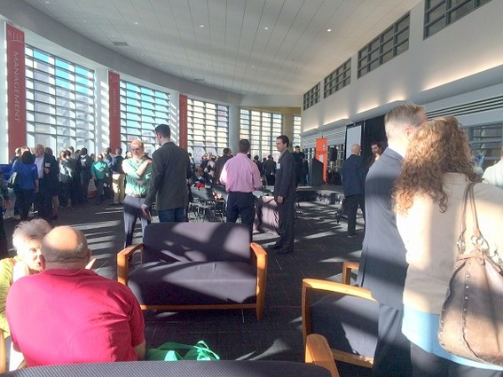 Photo: Networking at the Health Cluster Innovation Showcase. Photo Credit: Esther Surden